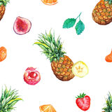 Watercolor tropical fruit berry seamless pattern background Royalty Free Stock Images
