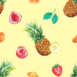 Watercolor tropical fruit berry seamless pattern background Stock Photo