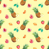 Watercolor tropical fruit berry seamless pattern background.  Royalty Free Stock Image
