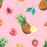 Watercolor tropical fruit berry seamless pattern background Royalty Free Stock Photo