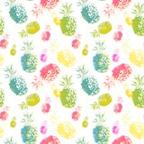 Watercolor tropical fruits seamless pattern, colorful hand painted pineapple fruits on wite background. royalty free illustration