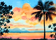 Watercolor tropical landscape with ocean and sunset sky Stock Image