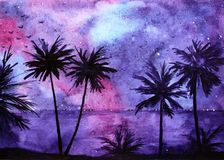 Tropical night landscape Royalty Free Stock Photo