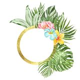 Watercolor tropical leaf illustration. Golden round frame with green exotic plants and flowers on white background. Summer wreath. Watercolor tropical leaves and royalty free illustration