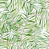 Watercolor tropical leafs pattern Royalty Free Stock Photos
