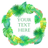 Watercolor tropical leaves circle  frame. On white background Stock Photo