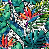 Watercolor tropical leaves and flowers with contour seamless pattern. Royalty Free Stock Photography