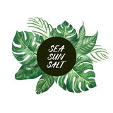 Watercolor tropical leaves frame with SEA SUN SALT words modern Royalty Free Stock Images