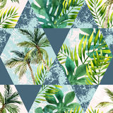 Watercolor tropical leaves and palm trees in geometric shapes seamless pattern Royalty Free Stock Images