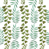 Watercolor  tropical leaves pattern Royalty Free Stock Image