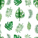 Watercolor tropical leaves seamless pattern. Hand drawn beautiful colorful tropic leaf stock illustration