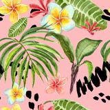 Watercolor tropical leaves seamless pattern. Hand painted palm leaf, exotic plumeria flowers and green foliage on pastel pink. Watercolor summer seamless pattern stock images