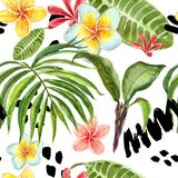 Watercolor tropical leaves seamless pattern. Hand painted palm leaf, exotic plumeria flowers and green foliage on white background stock illustration