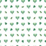 Watercolor tropical leaves seamless pattern.Heart floral form vector illustration