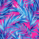 Watercolor tropical leaves summer seamless pattern. Royalty Free Stock Images