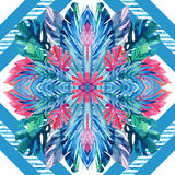 Watercolor tropical leaves symmetric arrangement on geometrical background. Symmetrical mirrored water color exotic floral seamless pattern. Hand painted Stock Photo