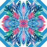 Watercolor tropical leaves symmetric arrangement on geometrical background. Symmetrical mirrored water color exotic floral seamless pattern. Hand painted Royalty Free Stock Photo