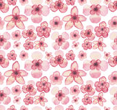 Watercolor Tropical Light Pink Flowers Repeat Pattern. Watercolor Tropical Light Pink Flowers Seamless Repeat Pattern Royalty Free Stock Photography