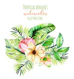 Watercolor tropical palm leaves and flowers exotic bouquet Royalty Free Stock Photography