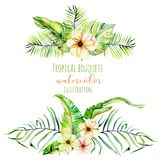 Watercolor tropical palm leaves and flowers exotic bouquets Stock Image