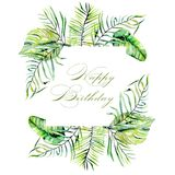 Watercolor tropical palm leaves frame border. Hand painted on a white background, greeting card design, Happy birthday postcard Royalty Free Stock Photo