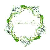 Watercolor tropical palm leaves frame border, wreath. Hand painted on a white background Stock Photo