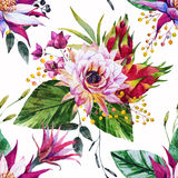 Watercolor tropical pattern Stock Photo
