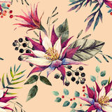 Watercolor tropical pattern Royalty Free Stock Photography