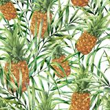 Watercolor tropical pattern with juicy pineapple. Hand painted tropical fruit with palm leaves isolated on white stock illustration