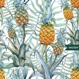 Watercolor, tropical, pineapple, exotic, pattern Stock Photo