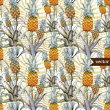 Watercolor, tropical, pineapple, exotic, pattern Royalty Free Stock Images