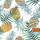 Watercolor, tropical, pineapple, exotic, pattern Royalty Free Stock Image