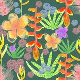 Watercolor tropical plants seamless pattern on dark green background. Watercolor tropical plants seamless pattern stock illustration