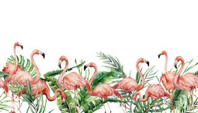 Watercolor tropical seamless border with flamingo and exotic leaves. Hand painted floral illustration with pink birds. Banana, coconut and monstera branch royalty free stock photos