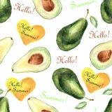 Watercolor tropical seamless pattern with avocado and text on a white background vector illustration