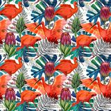 Watercolor tropical seamless pattern. hand-drawn wild nature illustration Stock Images