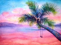 Watercolor tropical sunset landscape with the palm. Watercolor dramatic tropical sunset landscape with palm and swing, vivid tropical background Stock Photography