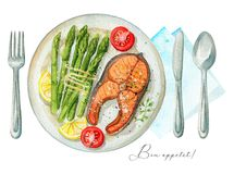 Watercolor trout steak with garnish on a plate, cutlery and napk. Steak from red fish on a plate with asparagus, lemon and tomatoes. Served with fork, knife Stock Image