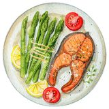 Watercolor trout steak on a plate with asparagus, lemon and toma. Steak from red fish on a plate with asparagus, lemon and tomatoes. Picture isolated at white Royalty Free Stock Photo