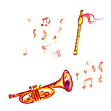 Watercolor trumpet and flute Stock Photos