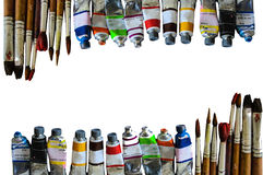 Watercolor tubes show of colorful on white paper background. Many watercolor tubes show of colorful on white paper background royalty free stock photos