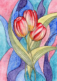 Watercolor. Tulips. Beautiful flowers for your des. Ign. Original design element stock illustration