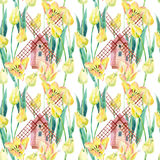 Watercolor tulips field with old windmills. Blooming tulips season in Holland. Watercolor floral seamless pattern vintage inspired. Hand painted illustration vector illustration