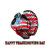 Watercolor turkey  on white background. For your design. American flag background. Happy Thanksgiving Day poster. A national holiday in the USA Stock Photos