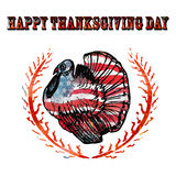 Watercolor turkey on white background. For your design. American flag background. Happy Thanksgiving Day poster. A national holiday in the USA stock illustration