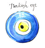 Watercolor turkish eye Royalty Free Stock Photography