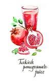 Watercolor turkish pomegranate juice Royalty Free Stock Photo