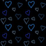 Watercolor turquoise and blue hearts seamless background  pattern. Colorful watercolor romantic texture. Hand painted romantic tex