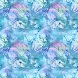 Watercolor turquoise cyan abstract seamless pattern texture background Royalty Free Stock Photos