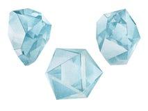 Watercolor turquoise gemstones Stock Photo